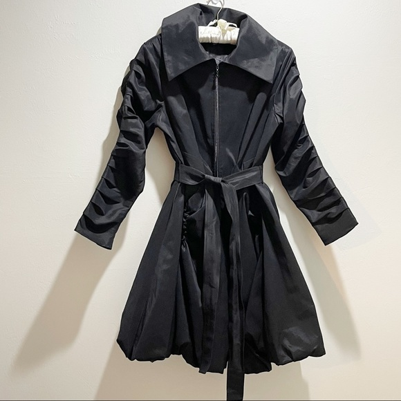 SAMUEL DONG Bubble Trench Coat Black Belted